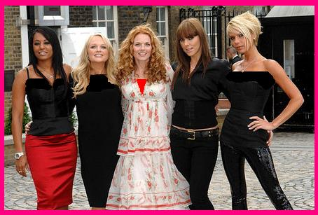 Melanie Chisholm, Melanie Brown, Geri Halliwell and Victoria Beckham cut