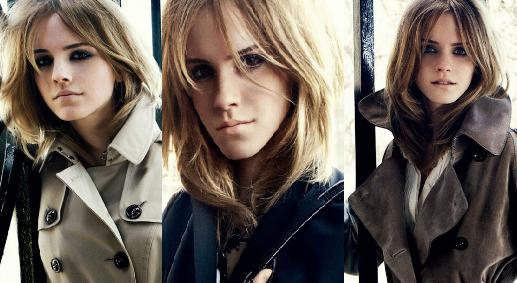 Advertising campaign images for Burberry featuring Emma Watson,