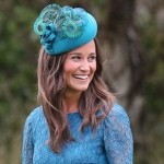 Pippa Middleton Wears A Teal Lace Dress At A Society's Wedding